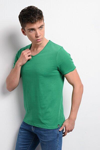 Rodi Jeans Rodi Rd19ye279974 Yeşil Erkek Fırçalı Süprem V Yaka T-shirt