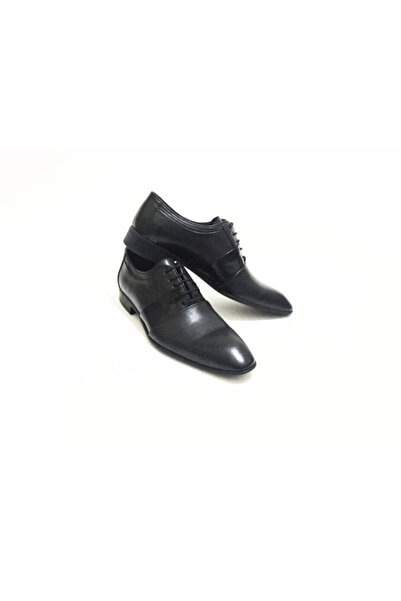 Erdem Siyah Bağcıklı Rugan Detaylı Hakiki Deri Erkek Klasik Ayakkabı