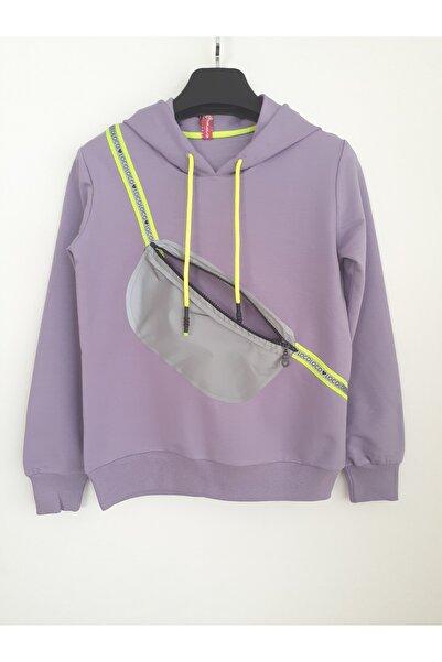 Elvinsa Çantalı Kapüşonlu Lila Kız Çocuk Mevsimlik Tarz Sweatshirt
