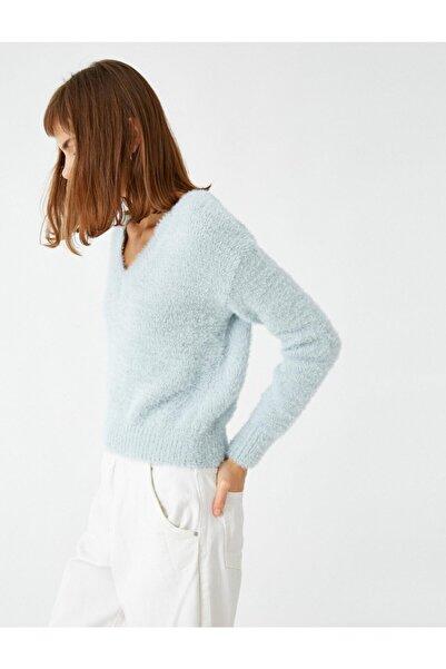 Koton V Yaka Crop Triko Sweatshirt