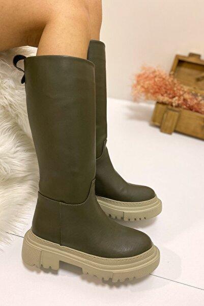 Nil Shoes Haki Gary Cilt Kalın Taban Çizme