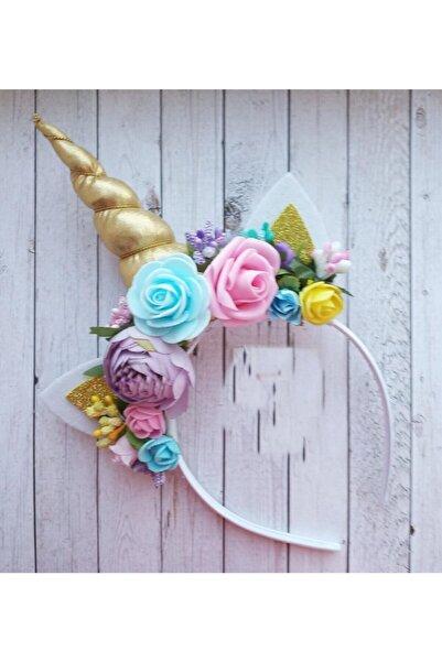 bbays new ternd Çiçekli Unicorn Taç Özel Tasarım Kız Çocuk Doğum Günü Saç Aksesuarı