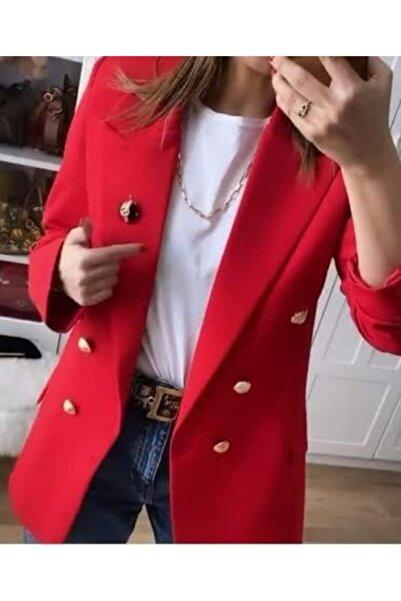Ashley Uzun Gold Düğmeli Kırmızı Blazer Ceket