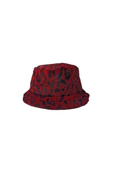 Y-London Leopar Peluş Kırmızı Bucket Şapka 12763