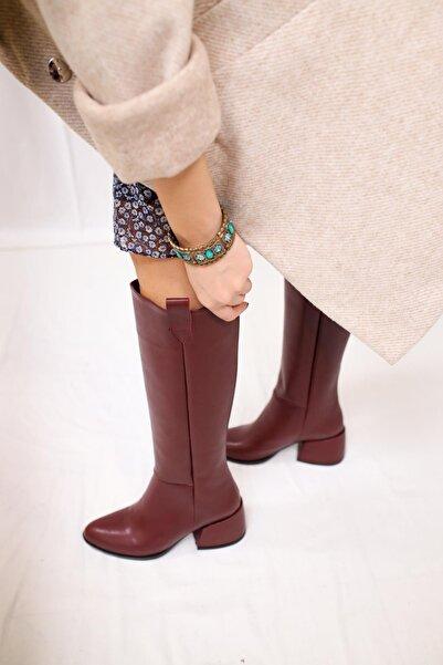 Limoya Kadın Bordo Cilt Topuklu Kısa Topuklu Çekme Çizme