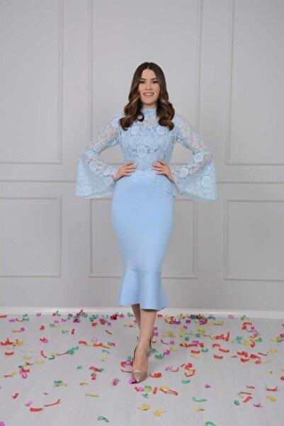 giyimmasalı Scuba Ve Güpür Detaylı Elbise - Buz Mavi