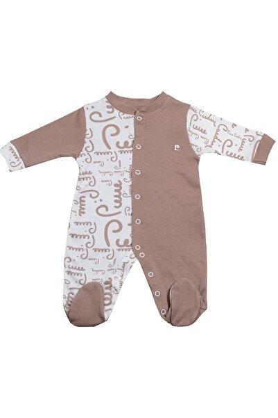 Pierre Cardin Baby Pierre Cardin Büyük Yazılı Interlok Erkek Bebek Tulumu Kahve