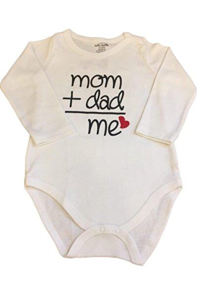 Fuar Baby Unisex Bebek Beyaz Mom Dad Yazılı Uzun Kol Body