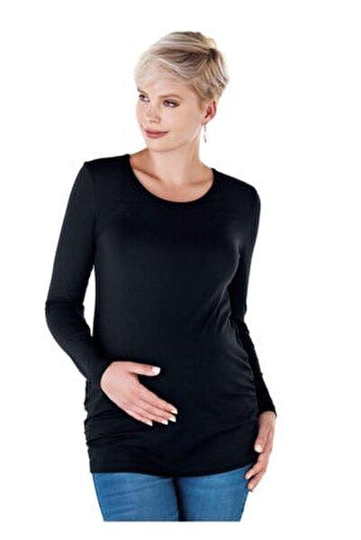 4256 - Yuvarlak Yaka Hamile Basic Tişört Siyah