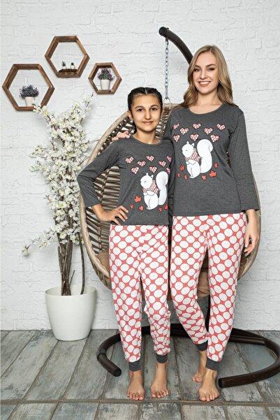 Souffle Boutique Baskılı Füme Anne Kız Kombin Pijama Takımı