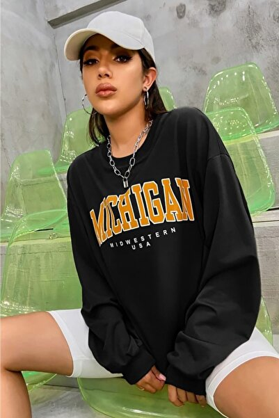 Madmext Mad Girls Siyah Sweatshirt Mg785