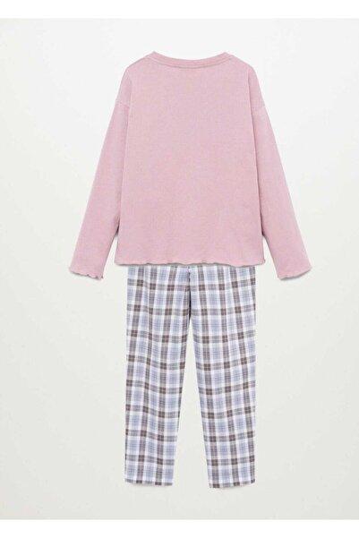 MANGO Kids Kareli Uzun Pijama Takımı