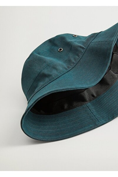 MANGO Man Erkek Haki Renk Pamuklu Bucket Şapka 77026334