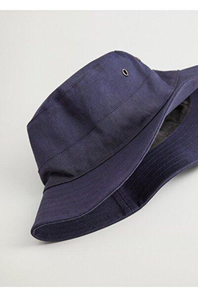 MANGO Man Erkek Lacivert Pamuklu Bucket Şapka 77026334