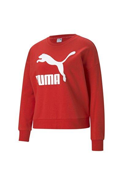 Puma Kadın Classics Logo Sweat - Kırmızı