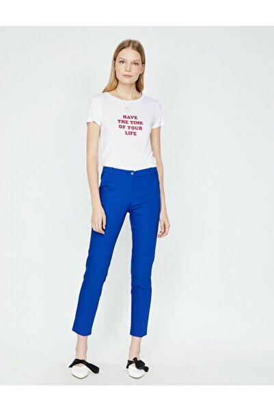 Koton Kadın Mavi Pantolon 7YAK43813EW