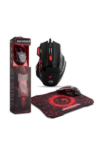 POLYGOLD X7 Işıklı Oyuncu Mouse + Mousepad Kırmızı