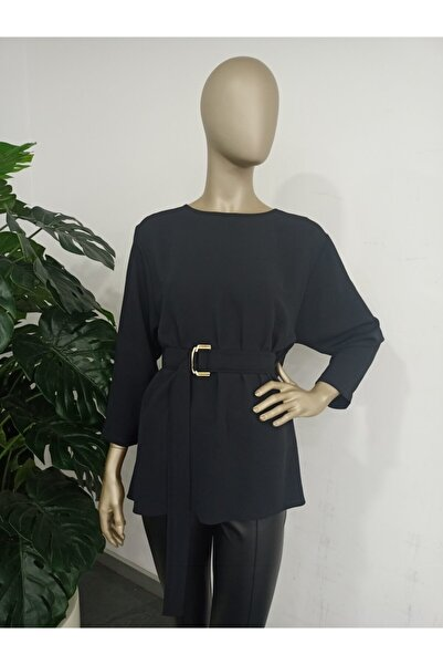 GİZİA Kadın Siyah Kuşak Kemerli Bluz