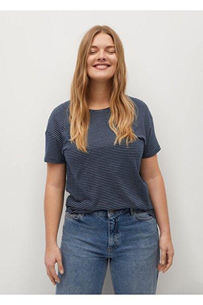 Violeta by MANGO Kadın Lacivert Baskılı Çizgili Tişört