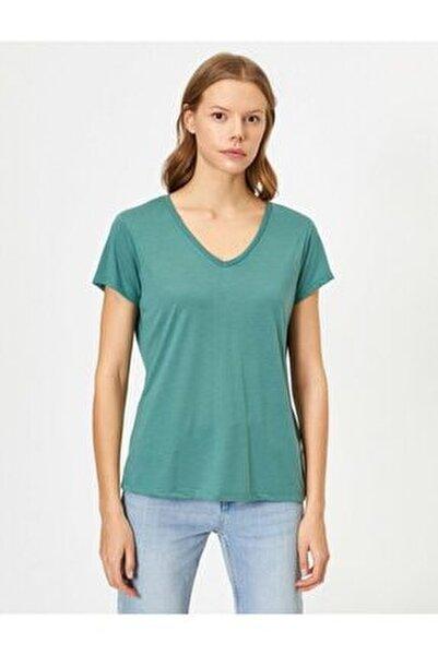 Kadın Kahve V Yaka T-Shirt 0YAK13640OK