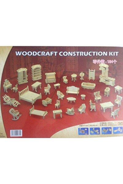 WOODCRAFT Minyatür Ahşap Mobilya Ve Ev Eşyaları Maketi 184 Parça