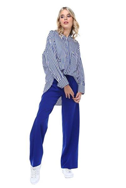 Modkofoni Kuşaklı Bol Paça Saks Mavi Pantolon