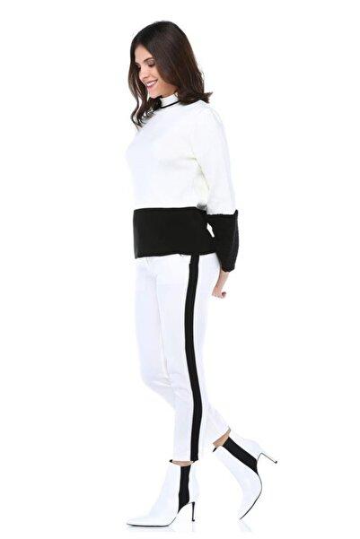Modkofoni Siyah Şeritli Beyaz Bilek Pantolon