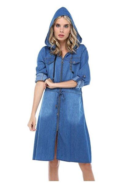Modkofoni Fermuarlı Kapşonlu Açık Mavi Uzun Kot Ceket