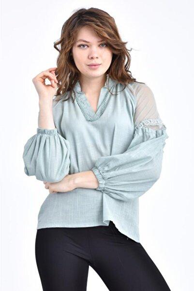 Modkofoni V Yaka Tül Ve Dantelli Uzun Kollu Mint Bluz