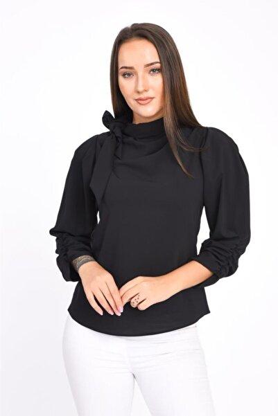 Modkofoni Fular Detaylı Uzun Kollu Siyah Bluz