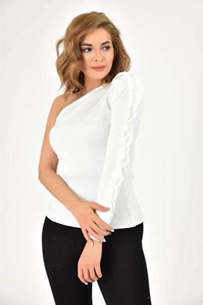 Modkofoni Yarım Kol Fırfır Detaylı Beyaz Bluz