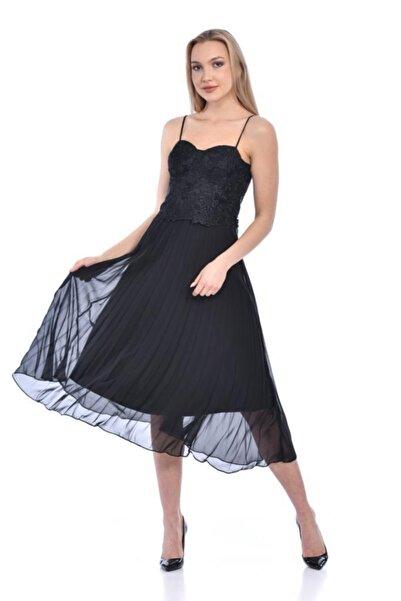 Modkofoni Askılı Nakış Detaylı Drape Siyah Abiye Elbise