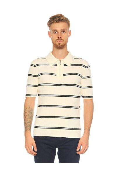 SANDRO Çizgili Ekru Polo T-shirt