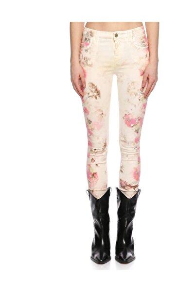 Guess Çiçek Desenli Beyaz Pantolon