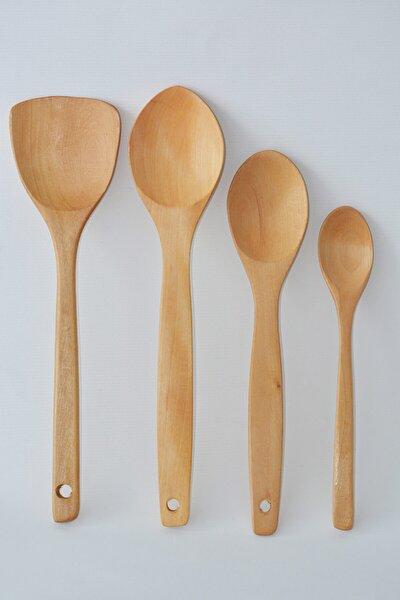 Alınası 4'lü ''bambu'' Yemek Gereçleri - 4 Boy Bambu Kaşık - Tahta Kaşık.(23 Cm.-28 Cm.-32cm.) K5