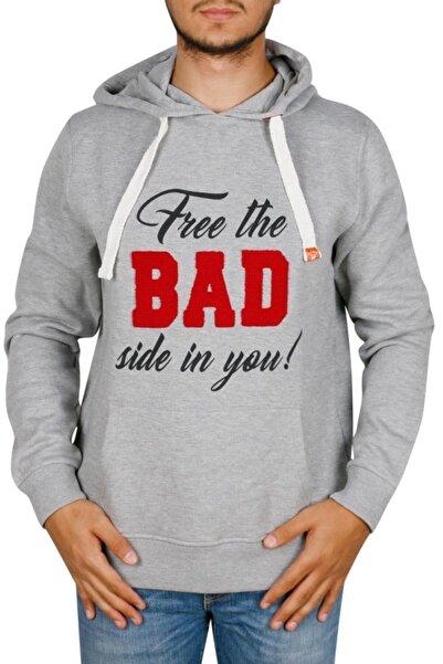 Bad Bear Erkek Gri Kapüşonlu Sweatshirt 18.02.12.001