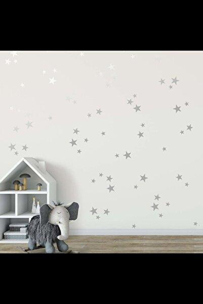 BugyBagy Gümüş Yıldız Duvar Sticker 3-4-5 cm 112 adet