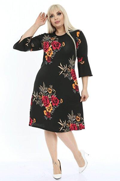 1fazlası Kadın Büyük Beden Çiçekli Volan Kol Krep Kumaş Elbise