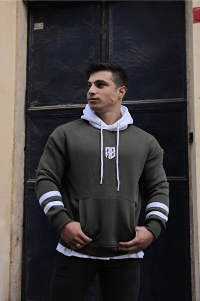 FAST EFFECT WEAR Kolu Şeritli Kapşonlu Haki Oversize Sweatshirt