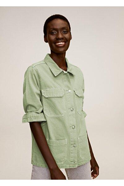 MANGO Woman Kadın Yeşil Cepli Koton Ceket 77013652