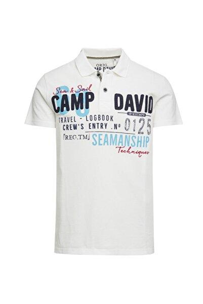 Camp David Erkek Beyaz Baskılı Polo Yaka T-shirt