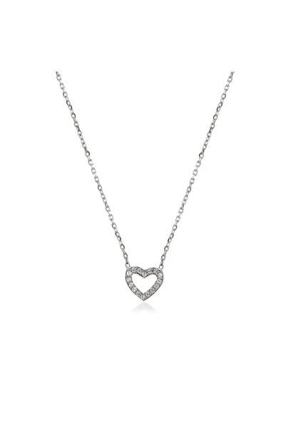 KURSHUNI Kadın Beyaz 925 Ayar Gümüş Kalp Kolye KR278-2