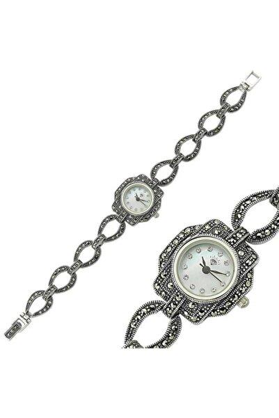 Gumush Kadın Gümüş Markazit Taşlı Saat