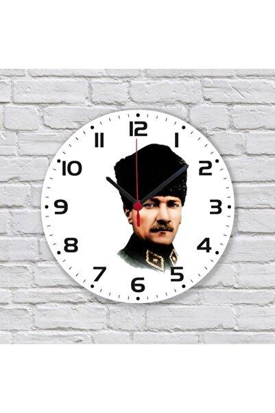 Katarsis Home Kalpaklı Atatürk Baskılı Akar Saniye Ahşap Duvar Saati