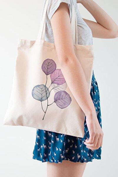 Çınar Bez Çanta Mor Çiçekler Baskılı Ham Bez Çanta