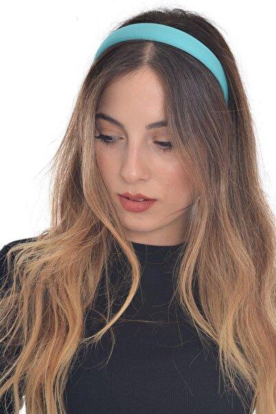 hahai accessories Hahai Kadın Turkuaz Renk Düz Geniş Taç