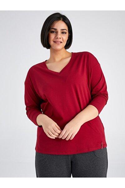 Faik Sönmez Kadın Bordo T-Shirt