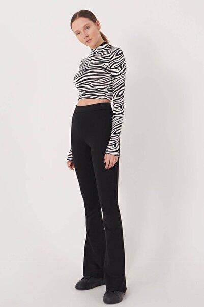Addax Kadın Siyah İspanyol Paça Tayt Pantolon ADX-00012474
