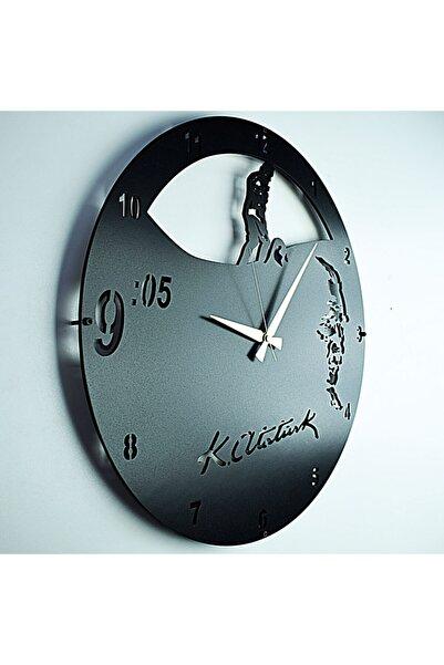 KAYRA SAAT Siyah Tasarım Atölyesi Ahşap Atatürk Kocatepe Saat 50 cm