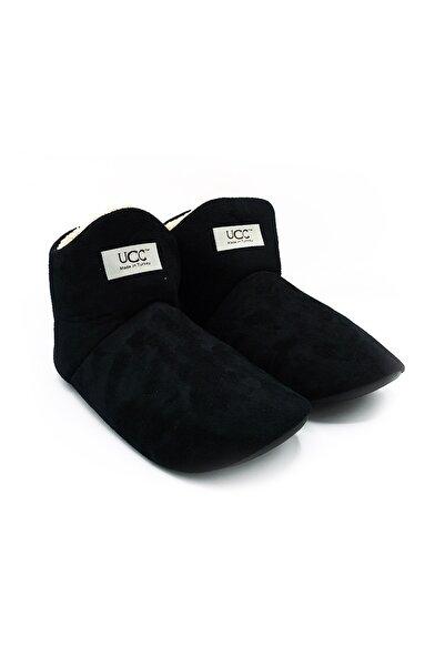 UCC Unisex Siyah Içi Yünlü Ev Pandufu Ev Botu Ev Ayakkabısı